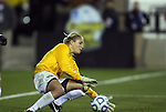 02 December 2011: Wake Forest's Aubrey Bledsoe is beaten for a goal by Duke's Kim DeCesare (not pictured) in the first half. The Duke University Blue Devils played the Wake Forest University Demon Deacons at KSU Soccer Stadium in Kennesaw, Georgia in an NCAA Division I Women's Soccer College Cup semifinal game.