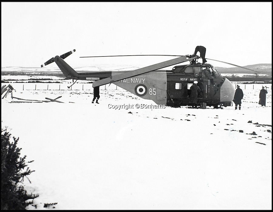 BNPS.co.uk (01202 558833)<br /> Pic: Bonhams/BNPS<br /> <br /> Eric Brown's final flight in a Whirlwind 7 helicopter after its rotars had failed in Lossiemouth in 1970.<br /> <br /> The historic medals and logbooks of legendary test pilot Eric 'Winkle' Brown have been saved for the nation and will be displayed in a British museum.<br /> <br /> A deal has been secured for the hero's prestigious decorations and all his flying journals after they failed to sell at auction earlier this week.<br /> <br /> They had been expected to sell for &pound;200,000, possibly to an overseas buyer, but bidding only reached &pound;140,000, falling short of the reserve price.<br /> <br /> Now it has emerged that the National Museum of the Royal Navy has negotiated a deal with Captain Brown's family to buy his stunning archive.