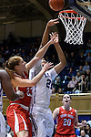 28 November 2014: Stony Brook's Kim Hanlon (23) shoot over Duke's Kendall Cooper (21). The Duke University Blue Devils hosted the Stony Brook University Seahawks at Cameron Indoor Stadium in Durham, North Carolina in a 2014-15 NCAA Division I Women's Basketball game. Duke won the game 72-42.