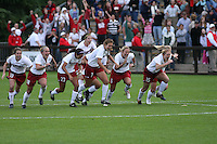 18 November 2007: Shari Summers, Kelley O'Hara, Christen Press, Lizzy George, April Wall, Rachel Buehler, and Alicia Jenkins during Stanford's 1-1 double overtime shootout win over California in the second round of the NCAA Division 1 Women's Soccer Championships at Laird Q. Cagan Stadium in Stanford, CA.