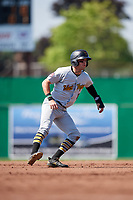 West Virginia Black Bears center fielder Travis Swaggerty (13) leads off second base during a game against the Batavia Muckdogs on July 1, 2018 at Dwyer Stadium in Batavia, New York.  Batavia defeated West Virginia 8-4.  (Mike Janes/Four Seam Images)
