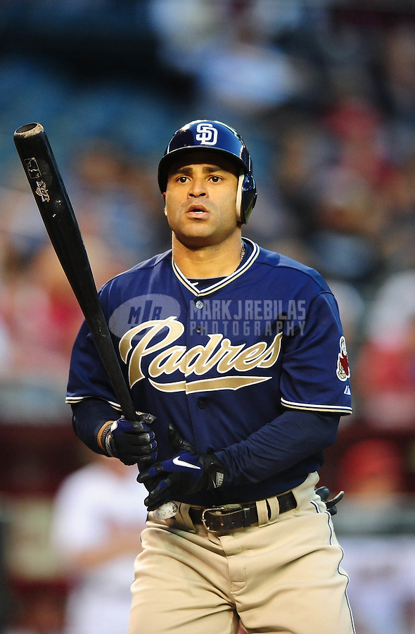 Apr. 6, 2010; Phoenix, AZ, USA; San Diego Padres third baseman Jerry Hairston Jr against the Arizona Diamondbacks at Chase Field. Mandatory Credit: Mark J. Rebilas-