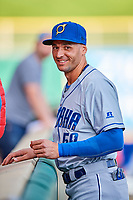 Paulo Orlando (59) of the Omaha Storm Chasers before the game against the Salt Lake Bees in Pacific Coast League action at Smith's Ballpark on May 8, 2017 in Salt Lake City, Utah. Salt Lake defeated Omaha 5-3. (Stephen Smith/Four Seam Images)
