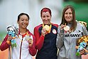 (L-R) Sini Zeng (CHN), Jamie Whitmore (USA), Denise Schindler (GER), <br /> SEPTEMBER 16, 2016 - Cycling - Road : <br /> Women's Road Race C1-2-3 Medal Ceremony <br /> at Pontal <br /> during the Rio 2016 Paralympic Games in Rio de Janeiro, Brazil.<br /> (Photo by AFLO SPORT)