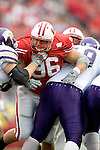 MADISON, WI - SEPTEMBER 9: Denfensive lineman Nick Hayden #96 of the Wisconsin Badgers plays defense against the Western Illinois Leathernecks at Camp Randall Stadium on September 9, 2006 in Madison, Wisconsin. The Badgers beat the Leathernecks 34-10. (Photo by David Stluka)