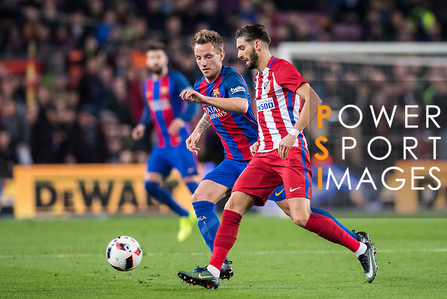 Yannick Ferreira Carrasco of Atletico de Madrid fights for the ball with Ivan Rakitic of FC Barcelona during their Copa del Rey 2016-17 Semi-final match between FC Barcelona and Atletico de Madrid at the Camp Nou on 07 February 2017 in Barcelona, Spain. Photo by Diego Gonzalez Souto / Power Sport Images
