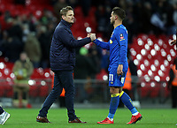 AFC Wimbledon manager Neal Ardley and Harry Forrester of AFC Wimbledon after Tottenham Hotspur vs AFC Wimbledon, Emirates FA Cup Football at Wembley Stadium on 7th January 2018