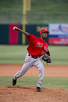 AZL Angels relief pitcher Jorge Tavarez (56) delivers a pitch during a game against the AZL Athletics on July 22, 2017 at Tempe Diablo Stadium in Tempe, Arizona. AZL Athletics defeated the AZL Angels 5-4. (Zachary Lucy/Four Seam Images)