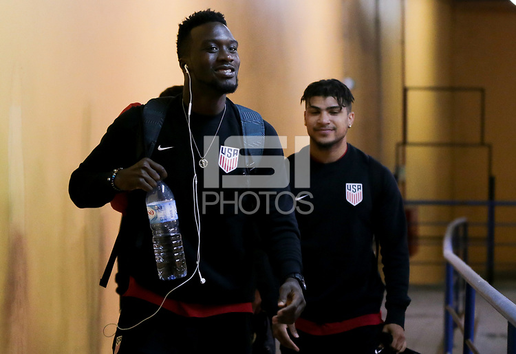 Leiria, Portugal - Tuesday November 14, 2017: C.J. Sapong, DeAndre Yedlin during an International friendly match between the United States (USA) and Portugal (POR) at Estádio Dr. Magalhães Pessoa.