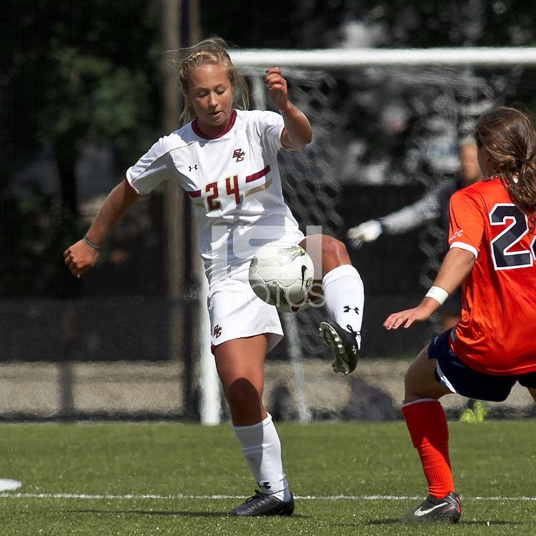 Boston College forward/midfielder Rachel Davitt (24) traps the ball. Boston College defeated University of Virginia, 2-0, at the Newton Soccer Field, on September 18, 2011.