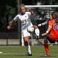 Boston College forward/midfielder Rachel Davitt (24) traps the ball. Boston College defeated University of Virginia, 2-0, at the Newton Soccer Field, on September 18, 2011.