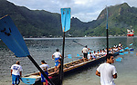 During a recent visit to American Samoa, I was invited along for a 14 mile round trip ride on this long boat out of Pago Pago Harbor. This 44 man boat belongs to Samoan High School, the only high school to have a boat.  Other boats are owned and crewed by local villages.  They are training for the annual Flag Day race on April 17th.  Taken with an iPhone 4s.