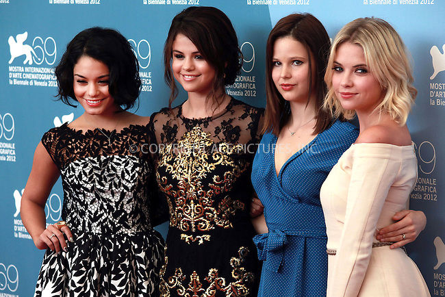 WWW.ACEPIXS.COM....US SALES ONLY....September 5, 2012, Venice, Italy.....Vanessa Hudgens, Selena Gomez, Rachel Korine and Ashley Benson arriving at the photocall for 'Spring Breakers' at the Venice Film Festival on September 5, 2012 in Venice, Italy.........By Line: Famous/ACE Pictures....ACE Pictures, Inc..Tel: 646 769 0430..Email: info@acepixs.com