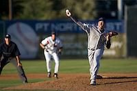 July 7, 2009: Tri-City Dust Devils Bradley McAtee pitches against the Salem-Keizer Volcanoes during a Northwest League game at Volcanoes Stadium in Salem, Oregon.