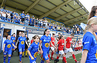 20190422 - Denderleeuw , BELGIUM : Gent's fans and supporters pictured with Shari Van Belle during the final of Belgian cup 2019 , a soccer women game between AA Gent Ladies and Standard Femina de Liege  , in the  Van Roystadion in Denderleeuw , Monday 22 th April 2019 . PHOTO SPORTPIX.BE | DAVID CATRY