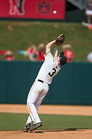 Army Black Knights second baseman Josh White (3) catches a pop fly during the game against the North Carolina State Wolfpack at Doak Field at Dail Park on June 3, 2018 in Raleigh, North Carolina. The Wolfpack defeated the Black Knights 11-1. (Brian Westerholt/Four Seam Images)