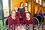 Grace O'Connell, Dolly O'Dolligan, Teacher Susan Daly, Kiara Devlin and Natalie O'Connor, St. Joseph's Caherciveen  at the Chapter 23 Credit Union Schools Quiz finals at Ballyroe Heights Hotel on Sunday