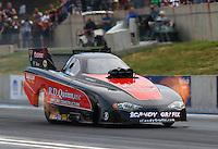 Jul. 18, 2014; Morrison, CO, USA; NHRA funny car driver Todd Simpson during qualifying for the Mile High Nationals at Bandimere Speedway. Mandatory Credit: Mark J. Rebilas-