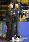 13.04.2019, EWE Arena, Oldenburg, GER, easy Credit-BBL, EWE Baskets Oldenburg vs medi Bayreuth, im Bild<br /> Mladen DRIJENCIC (EWE Baskets Oldenburg #Trainer #Coach ) und der verletzte Karsten TADDA (EWE Baskets Oldenburg #9 )<br /> <br /> Foto © nordphoto / Rojahn
