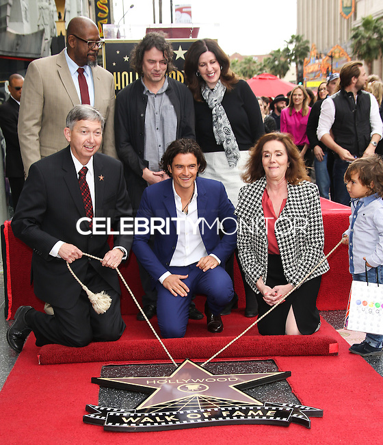 HOLLYWOOD, LOS ANGELES, CA, USA - APRIL 02: Forest Whitaker, Leron Gubler, David Leveaux, Orlando Bloom, Flynn Christopher Bloom at Orlando Bloom's star ceremony on the Hollywood Walk of Fame (2,521st star) in the category of Motion Pictures held at 6927 Hollywood Boulevard (next to TCL Chinese Theatre and Madame Tussauds Hollywood) on April 2, 2014 in Hollywood, Los Angeles, California, United States. (Photo by Celebrity Monitor)