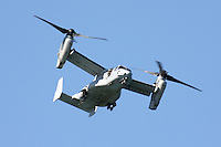 A United States Marine Corps MV-22 Osprey in flight during 2008 San Francisco Fleet Week Activities. The MV-22 Osprey is a tilt-rotor aircraft that combines the vertical flight capabilities of a helicopter with the speed and range of an airplane.