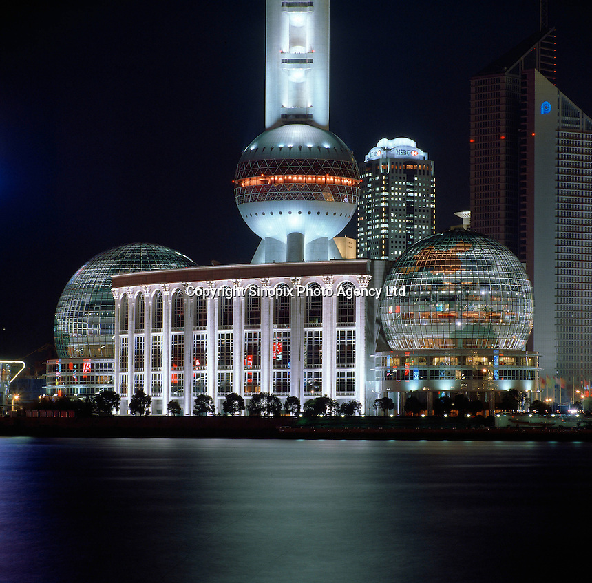 The Oriental Pearl TV Tower at night in Shanghai, China..