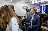 Reporters including Glenn Thrush, chief White House political correspondent for the The New York Times stand in the James S. Brady Press Briefing Room of the White House after being excluded from the meeting  on February 24, 2017 in Washington, DC. CNN, the New York Times and other news organizations were blocked Friday from a White House press briefing. Photo Credit: Olivier Douliery/CNP/AdMedia