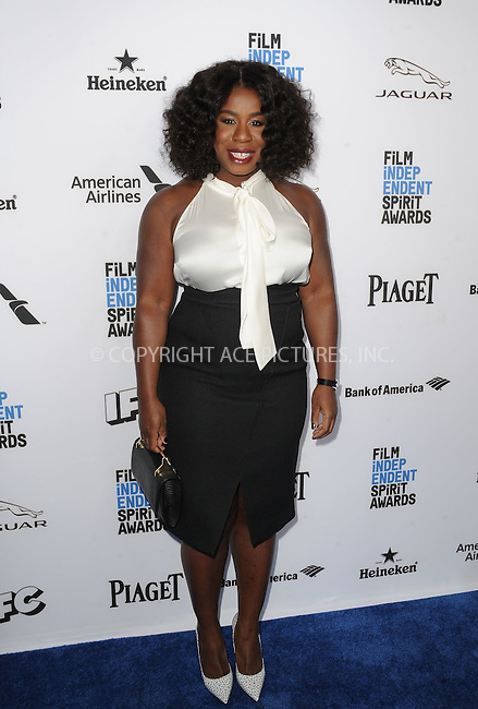 WWW.ACEPIXS.COM<br /> <br /> January 9 2016, New York City<br /> <br /> Uzo Aduba arriving at the 2016 Film Independent Filmmaker Grant and Spirit Award Nominees Brunch at BOA Steakhouse on January 9, 2016 in West Hollywood, California. <br /> <br /> By Line: Peter West/ACE Pictures<br /> <br /> <br /> ACE Pictures, Inc.<br /> tel: 646 769 0430<br /> Email: info@acepixs.com<br /> www.acepixs.com