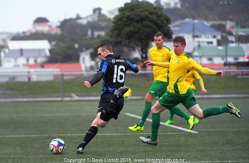 Action from the Central League football match between Miramar Rangers and Lower Hutt at Wakefield Park, Wellington, New Zealand on Wednesday, 13 August 2016. Photo: Dave Lintott / lintottphoto.co.nz