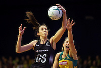 12.10.2016 Silver Ferns Bailey Mes and Australia's Clair McMeniman in action during the Silver Ferns v Australia netball test match played at the Silver Dome in Launceston in Australia.. Mandatory Photo Credit ©Michael Bradley.