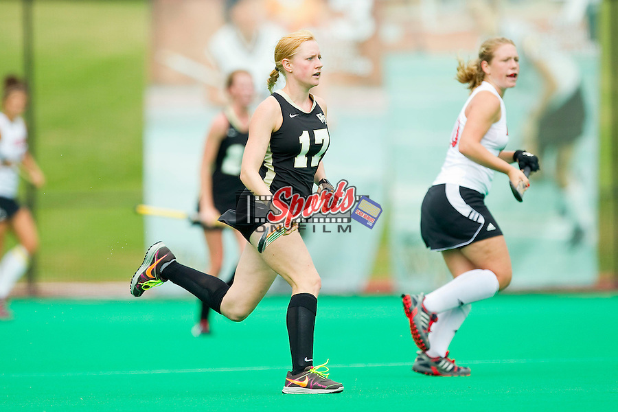 Tyra Clemmenson (17) of the Wake Forest Demon Deacons during first half action against the Louisville Cardinals at Kentner Stadium on October 14, 2012 in Winston-Salem, North Carolina.  The Cardinals defeated the Demon Deacons 2-1.  (Brian Westerholt/Sports On Film)