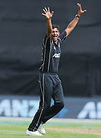Blackcaps Ish Sodhi appeals during the third ODI cricket match between the Blackcaps & England at Westpac stadium, Wellington. 3rd March 2018. © Copyright Photo: Grant Down / www.photosport.nz