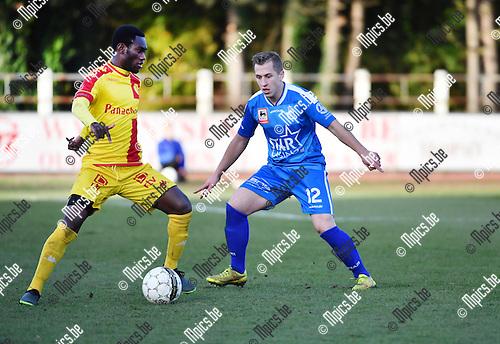 2016-11-27 / Voetbal / Seizoen 2016-2017 / KFC Duffel - Grimbergen / Prince Asubonteng (l. Duffel) met Rodrigue Williot<br /> <br /> ,Foto: Mpics.be