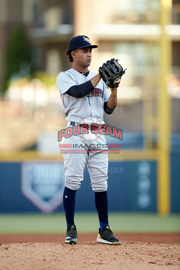Scranton/Wilkes-Barre RailRiders starting pitcher Deivi Garcia (4) looks to his catcher for the sign against the Gwinnett Stripers at BB&T BallPark on August 18, 2019 in Lawrenceville, Georgia. The RailRiders defeated the Stripers 9-3. (Brian Westerholt/Four Seam Images)