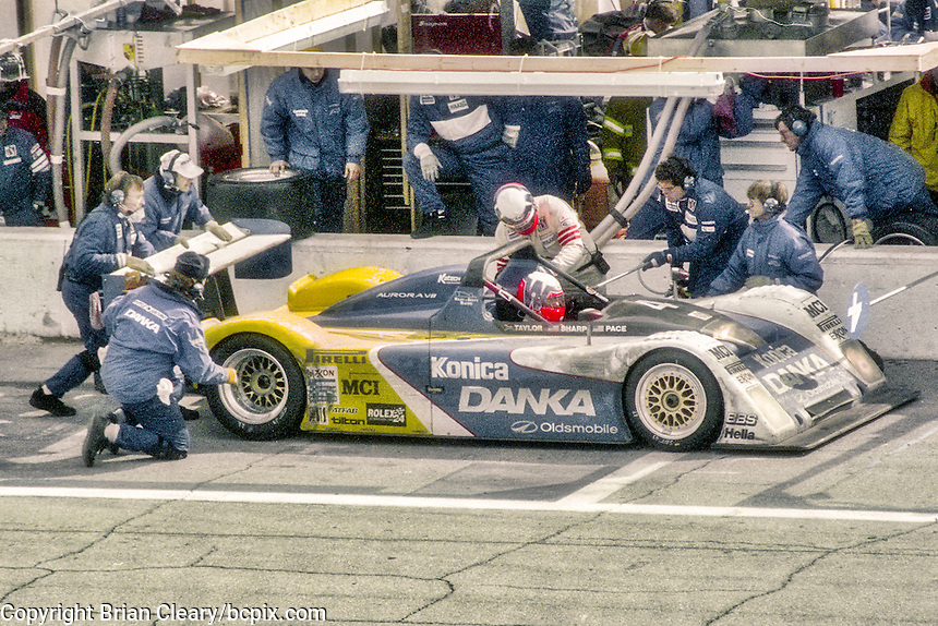 #4 Riley & Scott Oldsmobile,  Wayne Taylor, Barry Waddell, Jim Pace, and Eduardo Dibos, 3rd place finisher, 24 Hours of Daytona, Daytona International Speedway, Daytona Beach, FL. , February 2, 1997.   (Photo by Brian Cleary/bcpix.com)