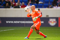 New England Revolution goalkeeper Matt Reis (1). The New York Red Bulls defeated the New England Revolution 1-0 during a Major League Soccer (MLS) match at Red Bull Arena in Harrison, NJ, on April 28, 2012.