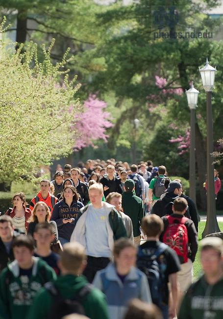Mar. 26, 2012; Students between classes..Photo by Matt Cashore/University of Notre Dame