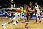 15 February 2012: Duke's Shay Selby (left) drives on Virginia Tech's Aerial Wilson (right). The Duke University Blue Devils defeated the Virginia Tech Hokies 67-45 at Cameron Indoor Stadium in Durham, North Carolina in an NCAA Division I Women's basketball game.