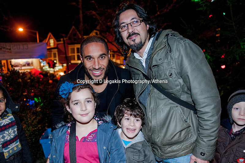 Thursday 20 November 2014<br /> Pictured: Ashley Williams poses for a picture with fans <br /> Re: Swansea City Captain Ashley Williams helps turn on the Christmas Lights at The Mumbles, Near Swansea, Wales UK