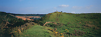 The ruins of Camelot castle lie buried on this mountain top. Somerset England, 6-2002