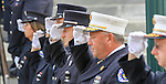Firefighters and EMS personnel stand at attention as the casket containing the remains of Manasquan volunteer firefighter Dan McCann is carried into St. Cecilia's Church in Kearny for his funeral mass Tuesday morning. McCann, a firefighter EMT with more than 25 years experience, died last week after a fire department training exercise.  9/21/16  (Andrew Mills | NJ Advance Media for NJ.com)