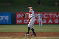 AZL Indians 2 shortstop Raynel Delgado (32) prepares to make a throw to first base during an Arizona League game against the AZL Angels at Tempe Diablo Stadium on June 30, 2018 in Tempe, Arizona. The AZL Indians 2 defeated the AZL Angels by a score of 13-8. (Zachary Lucy/Four Seam Images)