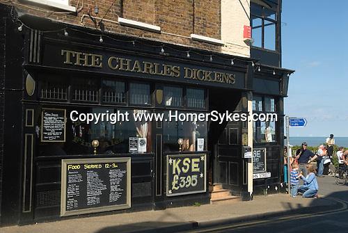 Broadstairs Kent Uk. The Charles Dickens pub overlooking Viking bay.