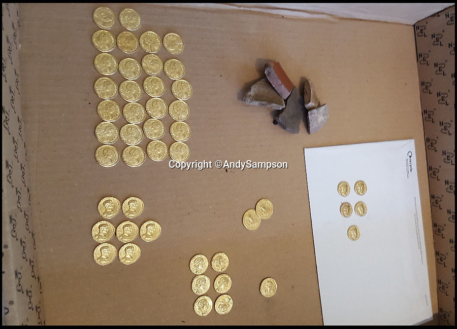 BNPS.co.uk (01202 558833)Pic: AndySampson/BNPS<br /> <br /> Fools gold - hapless detectorists Paul Adams and Andy Sampson neatly laid out their 'find' when they got home.<br /> <br /> Fools gold...Two hapless treasure hunters thought they had struck it rich when they found a hoard a gold coins - only to discover they were fakes buried for the TV comedy Detectorists.<br /> <br /> Metal detectorist Paul Adams began dancing around a field, crying out 'Roman gold! Roman gold!' when he stumbled upon a handful of ancient coins.<br /> <br /> Colleague Andy Sampson dashed across to help and to their astonishment within minutes they had unearthed 54 Roman gold coins, potentially worth £250,000.<br /> <br /> The pair spent 24 hours believing the treasure to be genuine and they even started thinking about what to blow their windfall on.<br /> <br /> But the next day an expert told them he feared the coins were fake before it was confirmed they had been left in a field by the film crew making the hit BBC series Detectorists.