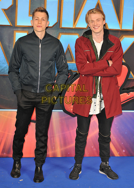 Tristan Evans (L) and James McVey of The Vamps at the &quot;Guardians of The Galaxy Vol. 2&quot; European gala film premiere, Hammersmith Apollo (Eventim Apollo), Queen Caroline Street, London, England, UK, on Monday 24 April 2017.<br /> CAP/CAN<br /> &copy;CAN/Capital Pictures