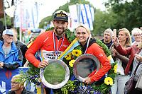 INLINESKATEN: HALLUM: 19-08-2017, Bartlehiem Skeelertocht, winnaars Irene Schouten en Crispijn Ariëns, ©foto Martin de Jong