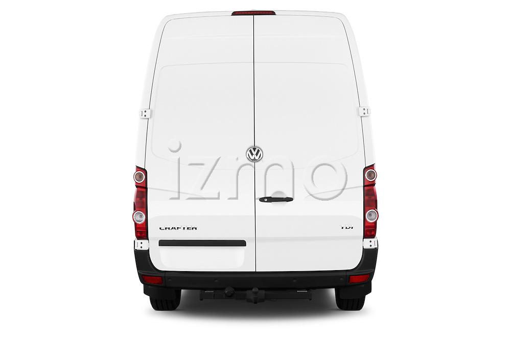 Straight rear view of a 2014 Volkswagen CRAFTER 2.0TDI 4 Door Cargo Van Rear View  stock images