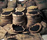 Sacks of coffee beans from different countries. Tenerife, Canary Islands