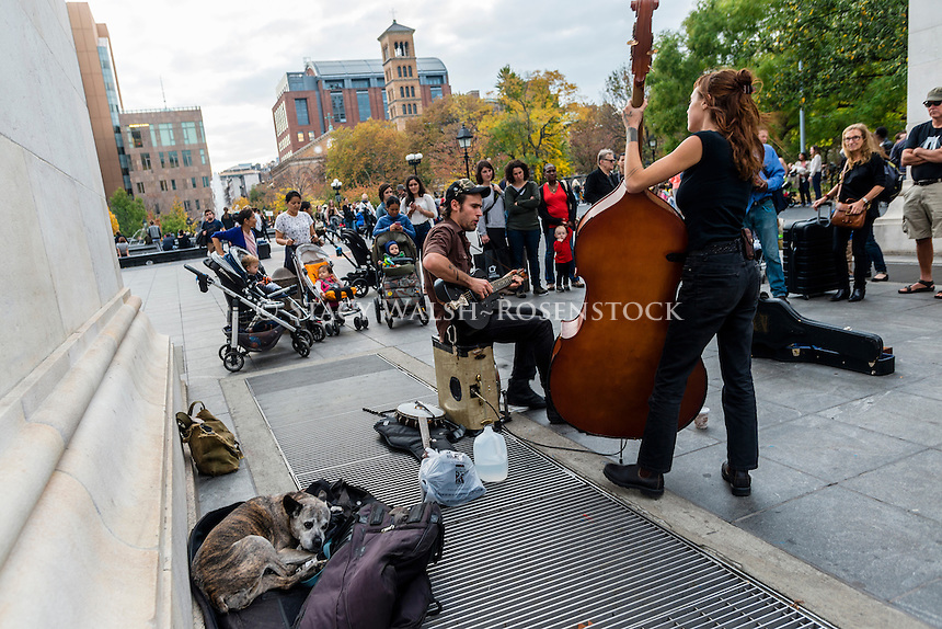 New York, NY 6 November 2015 - Outlaw Ritual performs under the arch in Washington Square Park