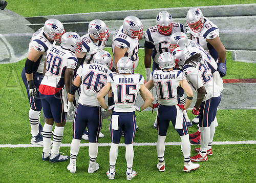 February 5th 2017, Houston, Texas, USA;   New England Patriots offensive line join in the huddle during the New England Patriots 34-28 victory over the Atlanta Falcons
